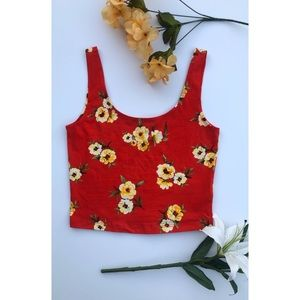 Forever 21 Red and Floral Crop Top